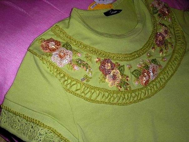 Вышивка бисером Плетение бисером.  Images for вышивка на одежде пайетками схема. воротник из жемчуга схема плетения.