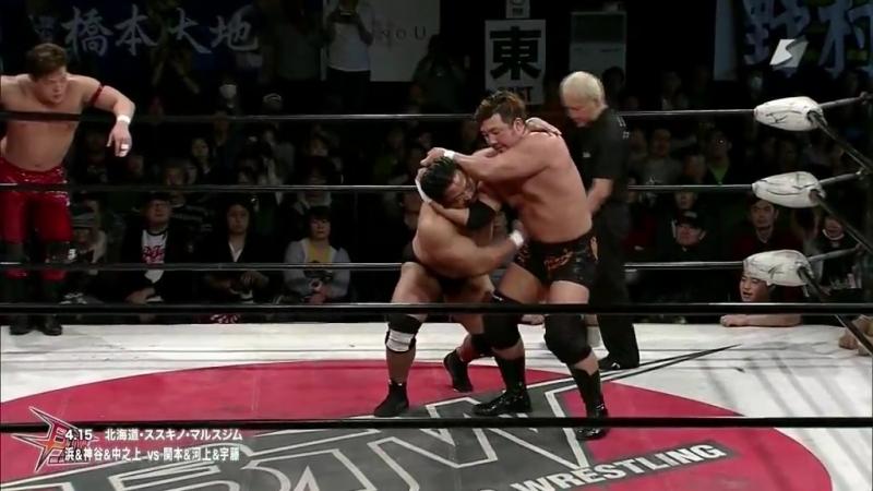 Ryuichi Kawakami, Yoshihisa Uto, Daisuke Sekimoto vs. Ryota Hama, Hideyoshi Kamitani, Yasufumi Nakanoue (BJW - Ikkitousen Strong