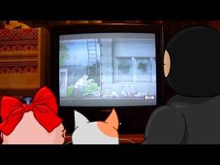Ниндзя смотрит трансляцию на ТВ