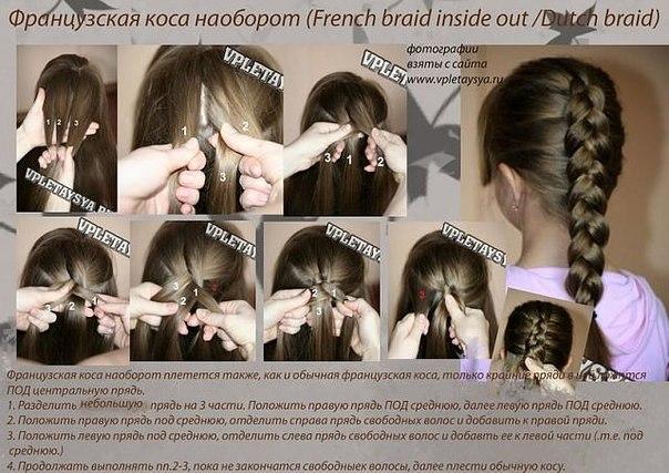 схемы плетения косы наружу