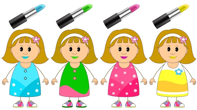 Let's Play With Color Lipstick Elly's Funny Make Up Face With Finger Family Song