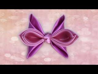 Милый бантик из ленты своими руками. DIY cute hair bow.(Ускоренная версия)