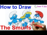 How to draw Hefty Smurf, Smurfette &amp Papa Smurf from The Smurfs