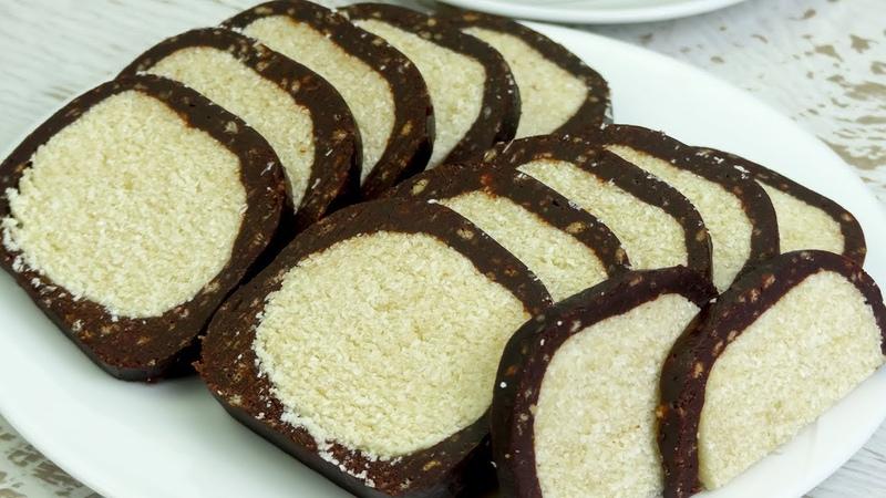 Покорит всех с первого кусочка Колбаска Рафаэлло для ценителей кокосовых десертов