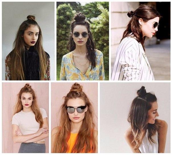 Как сделать на голове пучок с распущенными волосами
