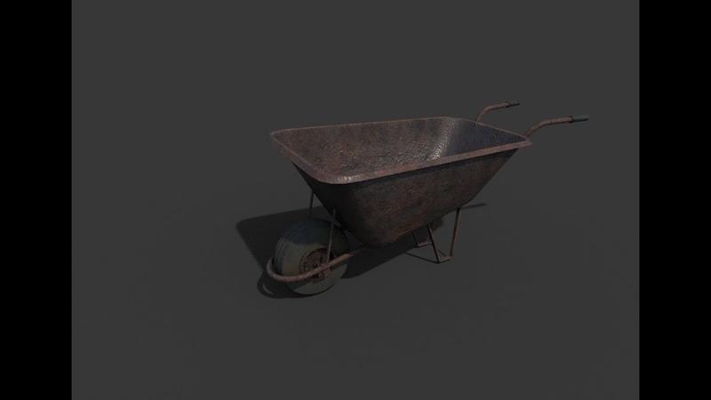 Creating wheelbarrow 3ds max Substance Painter final part - 4K