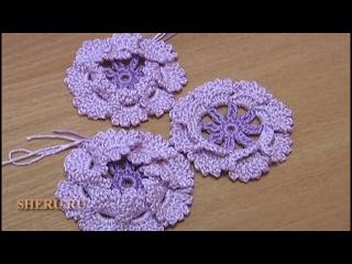 Вязание Цветов Урок 15 Вязание Цветка крючком с объемными лепестками