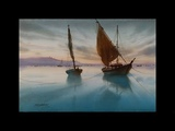 watercolour landscape painting boat over the sea shore Ganesh Hire