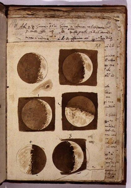 Фото зарисовки луны, которые сделал Галилео Галилей.