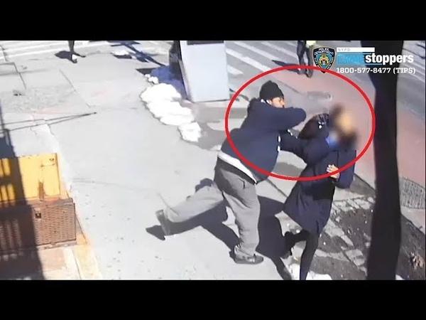 Man in Yale coat sucker punches woman walking on sidewalk