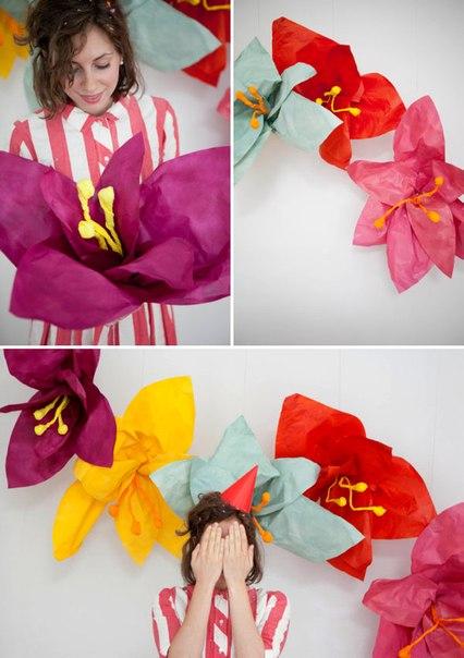 Большие цветы из бумаги (7 фото) - картинка