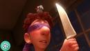 Реми помогает Лингвини готовить блюда - сидя у него на голове и дёргая за волосы. Рататуий (2007)