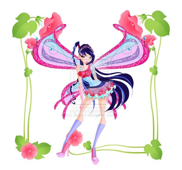 Волшебницы винкс в рамке с цветами +игра для девочек