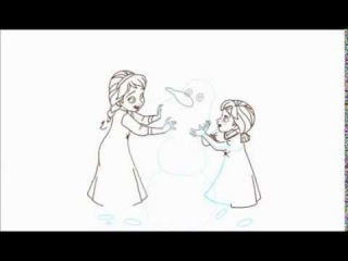 How to Draw Little Elsa and Anna as Kids Building a Snowman from Frozen