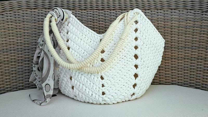 Bolsa De Crochê Com Fio de Malha - Bolsa de Praia - Tutorial de Crochê - Crochet Beach Bag Tutorial