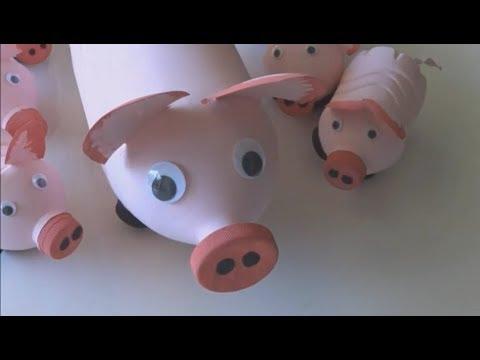 Porquinho de Garrafa Pet - lindo porquinho feito com material reciclavel