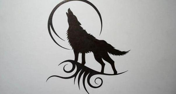 Татуювання вовк місяць малюнки