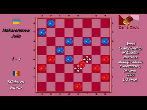 Miskova Elena (MDA) - Makarenkova Julia. World Draughts-64_women-2009. Semifinal.