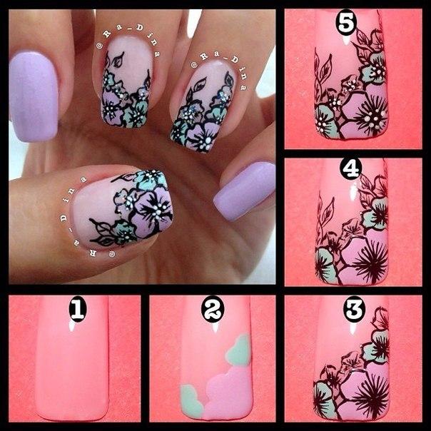 Цветок на ногтях поэтапно