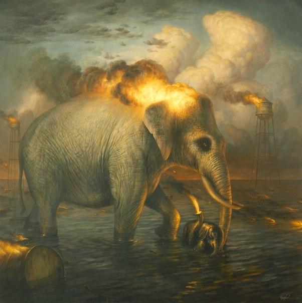 Слон горить голова