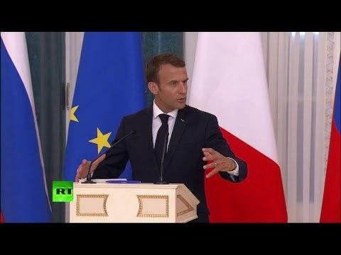 Пресс-конференция Путина и Макрона по итогам переговоров