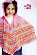 Вязание спицами пончо с капюшоном для детей 84