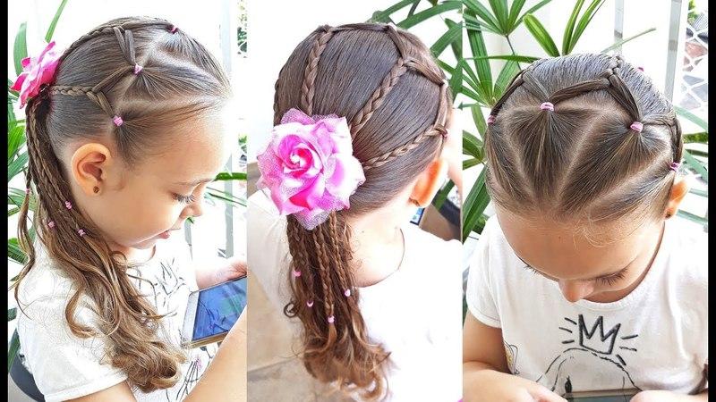 Penteado Infantil com tranças simples e liguinhas de silicone