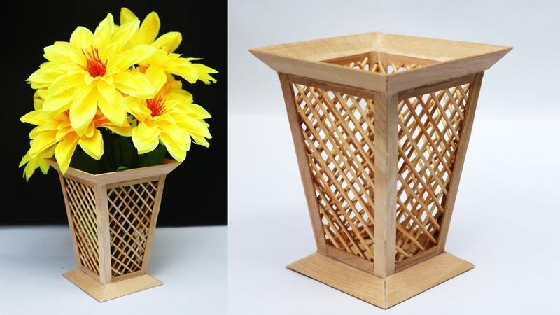 Ice cream stick flower vase making at home || raj easy craft