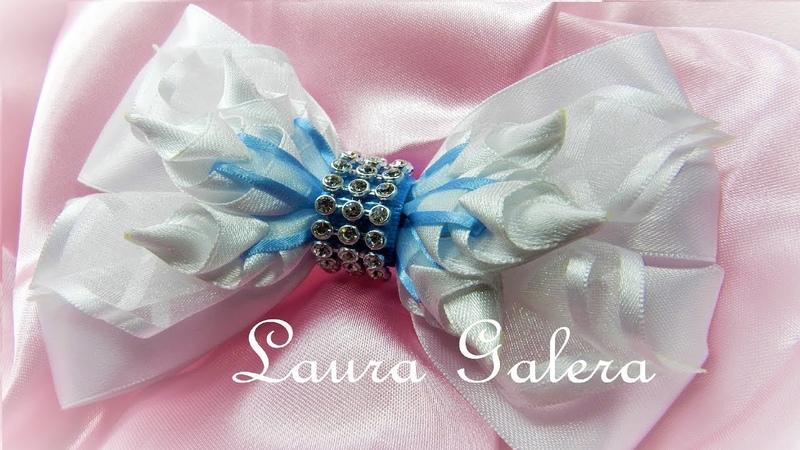 Moño con pimpollos para niñas Girls bow handmade Laço em fitas Бантики канзаши