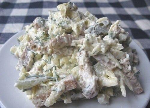 «Сырный салат с сухариками»