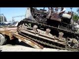 Трактор Т 100М ЧТЗ Заезд на полуприцеп тяжеловоз