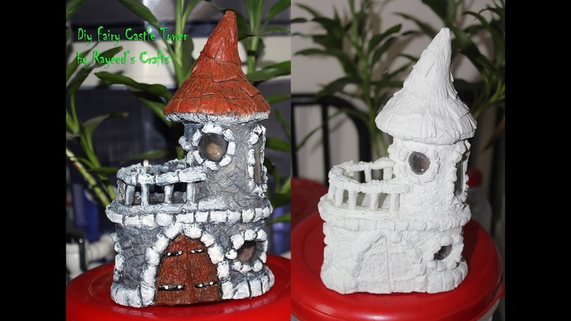 Diy Fariy House (Castle) making with home made paper clay and tissue paper roll