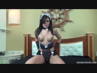 Shemale maid bruna butterfly jerking off on the bed