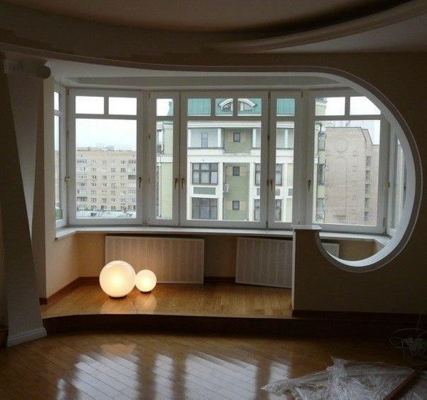 Объединение жилого пространства с лоджией.