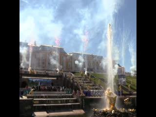 Церемония открытия фонтанов в Петергофе
