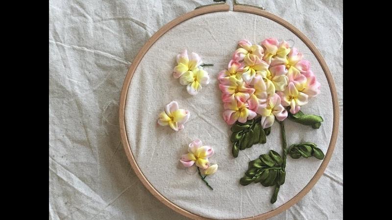 D.I.Y Ribbon Embroidery Hortensia Hướng dẫn thêu tay ruy băng hoa cẩm tú cầu