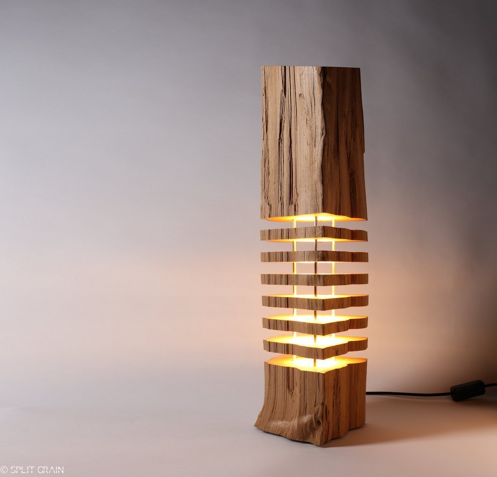 Minimalist wooden light sculptures by Split Grain