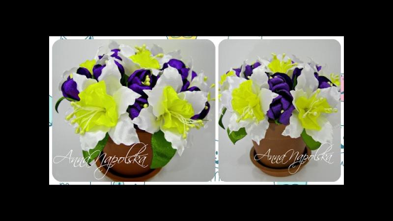 Весняний букет у горщику канзаши. Весенний букет в горшочке своими руками. Spring bouquet