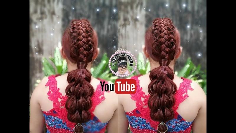 Trenza pull through con ligas trenza pluma/peinados Faciles y bonitos