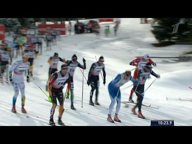 Российский лыжник Станислав Волженцев занял третье место этапе многодневки `Тур де Ски` в Швейцарии - Первый канал