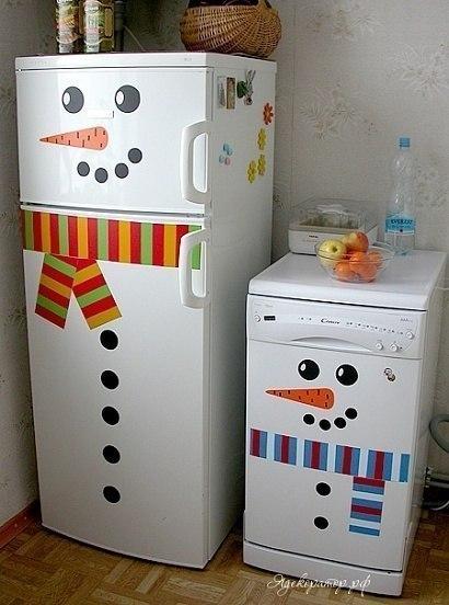 Декор холодильника к зиме