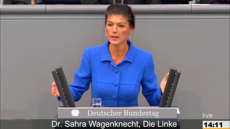 Сара Вагенкнехт Фрау Меркель вы и ваше преступное правительство это наказание для Германии!