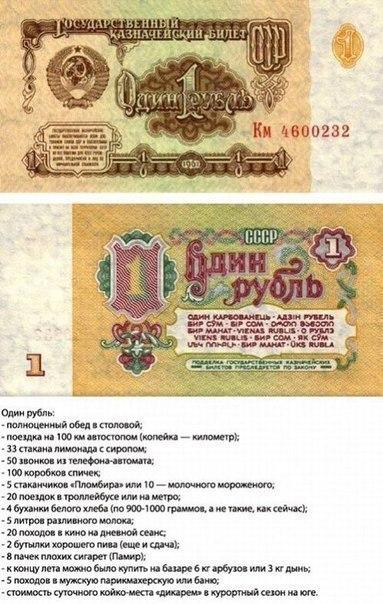 Что можно было купить в СССР имея в кармане ту или иную банкноту.