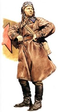 Лейтенант ВВС Красной армии.  Этот летчик-истребитель одет в довоенное кожаное летное пальто и летный шлем.