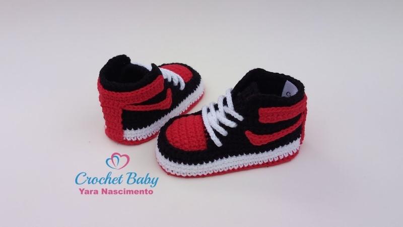 Tênis NIKE de Crochê - Tamanho 09 cm - Crochet Baby Yara Nascimento