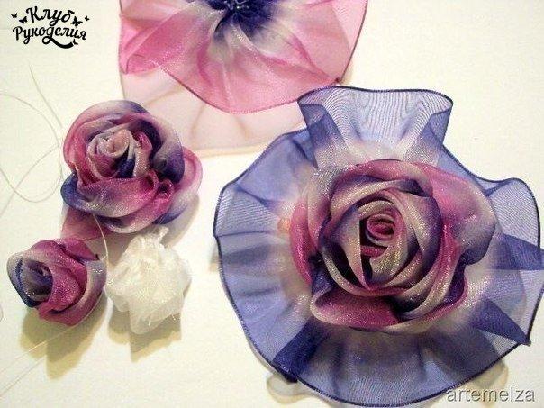 Роза из органзы. (10 фото) - картинка