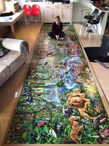 Девушка собрала самый большой в мире пазл - 33.600 деталей