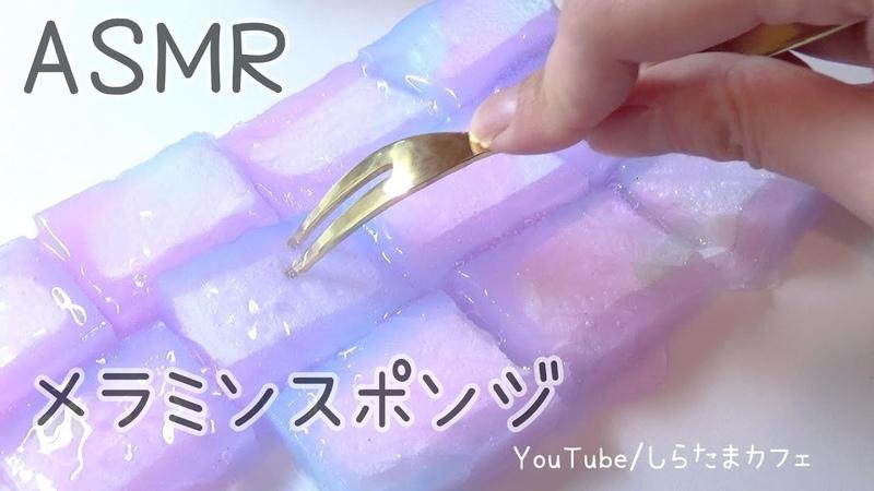 【音フェチ スライム】メラミンスポンジ☆ナイフとフォークでシャキ12471