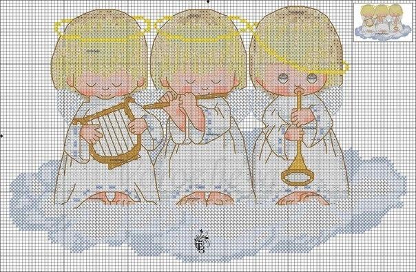Схема для вышивки с тремя ангелочками 902