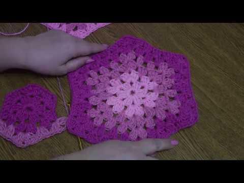Вяжем шестиугольники для пледа Зигзаг